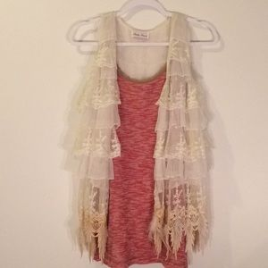 Free People Long Tank With Lace Trim & Shirt